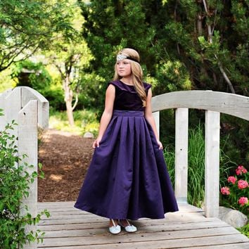 Dark Purple Amelia Classic Velvet & Satin Dress - Toddler, Girls & Juniors