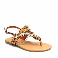 Free Spirit Embellished Print Sandals