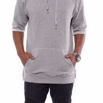 """Yeezy"" Short Sleeve Fleece Hoodie with Zipper sides"