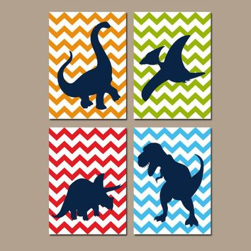 DINOSAUR Wall Art, DINOSAUR Canvas or Prints, Big Boy Bedroom Pictures, Silhouette Chevron DINO Theme, Dinosaur Nursery, Set of 4 Decor