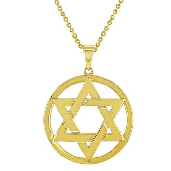 18k Gold Plated Star of David Jewish Religious Pendant Necklace for Women 19""