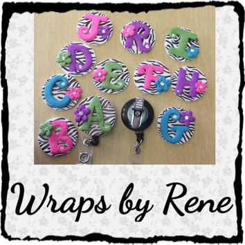Zebra Print Monogram/Personalized ID Badge Reels/Lanyards