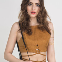 Camel Suedette Cut Away Multi Strap Tied Crop Top