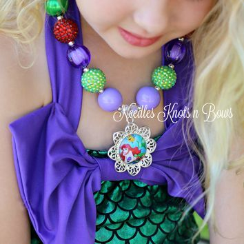 Little Mermaid Chunky Bead Bubblegum Necklace, Girls Ariel Pendant Necklace, Girls Jewelry