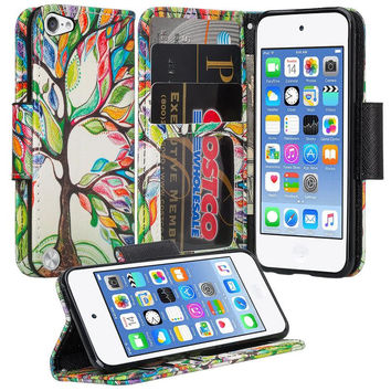 iPod Touch 5 / Ipod Touch 6 Wallet Case, Slim Strap Flip Folio [Kickstand] Pu Leather Wallet Case with ID & Credit Card Slots - Colorful Tree