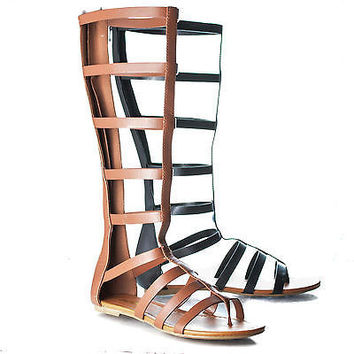 Bappy By Soda, Knee High Gladiator Strappy Flat Sandal Cage Wrap Women Shoes
