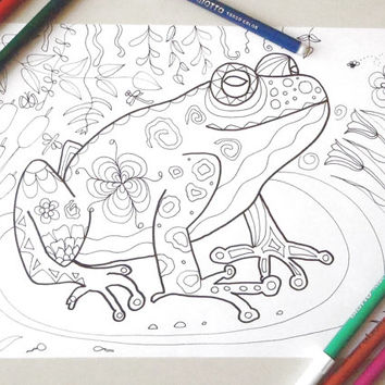 frog coloring page adult download colouring doodle doodling frog animal colouring nature image zen printable print digital lasoffittadiste