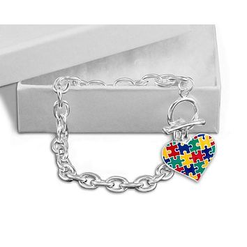 Autism Colored Puzzle Heart Chunky Charm Bracelet