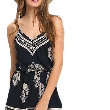 Sexy Sleeveless New Beach Romper Women Jumpsuit Ladies Navy V-neck Paisley Print Rompers