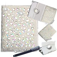 BLING!!! IRIDESCENT iPad Air (iPad 5) Jersey Bling 3D Gems Crystal & Rhinestone Faux Leather Folio w/360 Rotating Cover & Stylus