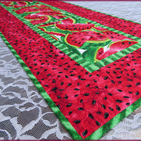 Quilted Table Runner, Pink Watermelon, Table Decor, Summer Decor 831