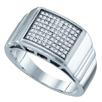 Sterling Silver Men's Round Diamond Square Cluster Textured Ring 1/4 Cttw