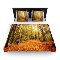 "Sylvia Cook ""Autumn Leaves"" Rustic Woven Duvet Cover"