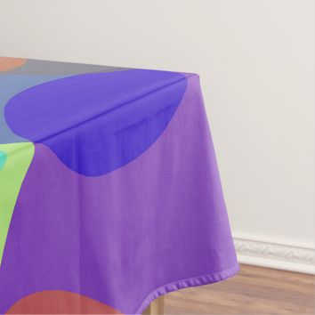Pastel ovals, colorful geometric circles pattern tablecloth