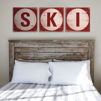 SKI TRIPTYCH Original Alpine Graphics Illustration on wood - made to order