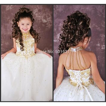 Applique White Flower Girl Dresses High Neck Sleeveless Backless Gold Sequins Beading Ball Gown Princess Tulle Pageant Dresses