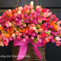 spring wreath Easter wreaths wreath front door wreath decorations,pink, multicolor tulips spring wreath
