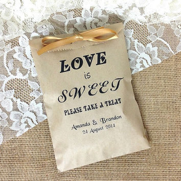 Personalized Love is Sweet rustic wedding favor bag, brown kraft paper bag, wedding gift bags