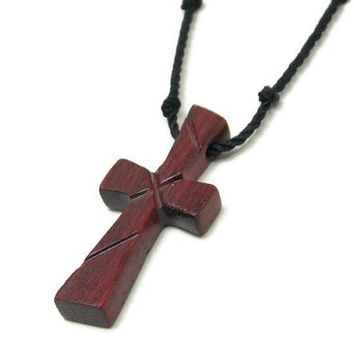 Mens Jewelry Cross, Mens Cross Necklace, Wood Cross Necklace, Bloodwood Pendant, Cross Necklace, Wood Cross Pendant, Husband Gift