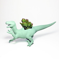 Up-cycled Sea Glass Velociraptor Dinosaur Planter - With Succulent Plant