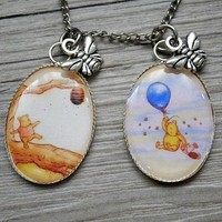 Classic Winnie The Pooh / Piglet pendant with bee charm necklace