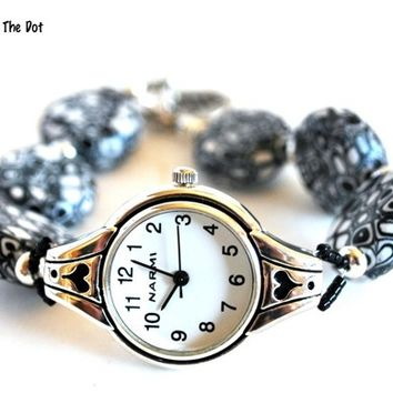 Black and White Beaded Watch Ladies Womens Stainless Handmade Bead