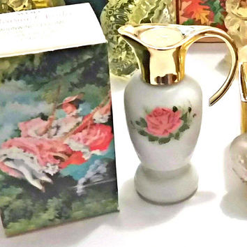 70s AVON PARISIAN Garden Vintage Sonnet Cologne UNUSED Perfume Bottle Shabby Roses Victorian French Chic Decor 1970s Romantic Vanity Decor