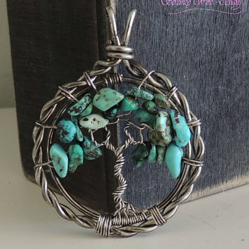 Twisted Curved Turquoise Tree of life Pendant