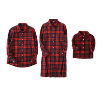 family matching outfits 2017 new spring plaid single breasted family blouse letter printed parentsand boys matching clothes
