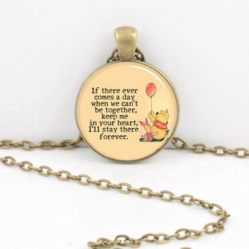 Pooh and Piglet Friends Forever Pendant Necklace or Key Ring