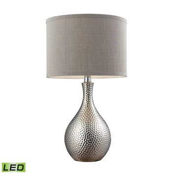 D124-LED Hammered Chrome Plated LED Table Lamp With Grey Faux Silk Shade