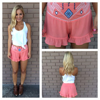 Coral Embroidered Ruffle Shorts