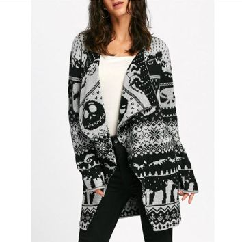 Skull Knitting Tunic Cardigans Autumn Winter Women Long Sweaters Open
