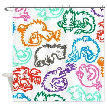 Crayon Dragons Shower Curtain - Ornaart Design