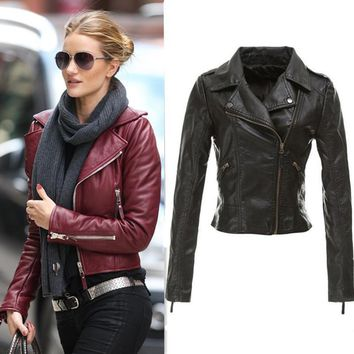 Women Winter Red Black Zipper jacket Ladies Motorcycle Faux Leather Jackets  Plus Size 2015 new design