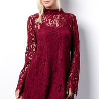 Long Sleeve Lace Dress - Burgundy