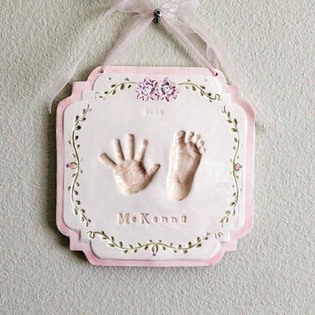 Baby Gift - Baby Ceramic Hand and Footprint Art - Kids and Baby Gift - New Mom Gift - Baptism Gift - Gift For Mom - Baby Shower Gift - Baby