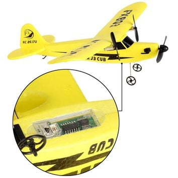 FX FX803 RC Helicopter 2CH 2.4G Aircraft Glider Kid Toys with Transmitter Yellow