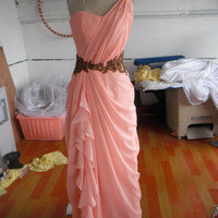Modest A-line Chiffon One Shoulder Zip up Floor Length Prom Dress