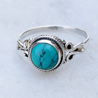 Turquoise ring, sterling silver ring,  stone ring, silver Turquoise ring, 92.5 sterling silver, Natural Turquoise Silver Ring,  RNSLT