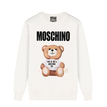 MOSCHINO Fashion Casual Lovely Bear Print Long Sleeve Sweater Sweatshirt White