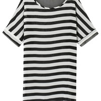 Monochrome Striped Front Contrast Back Sheer Beach Cover Up