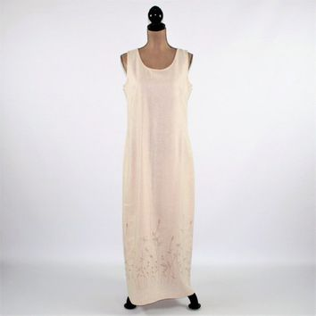 Sleeveless Maxi Dress Women Summer Dress Embroidered Beige Linen Rayon Size 12 Dress Liz Claiborne Vintage Clothing Womens Clothing