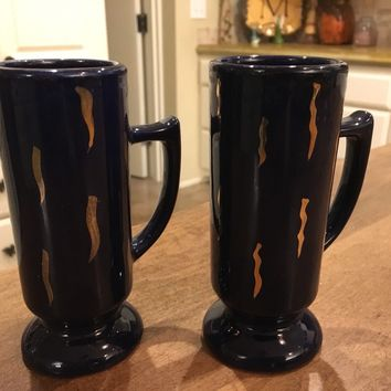 Set of 2 - Caffe D'Oro Vintage Cobalt Blue and Gold Espresso Coffee Cups 5""