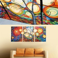 Colorful Rainbow Light Tree Painting On Canvas Fine Art Size 71 x 32 Inch 010