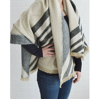 Beige and Gray Reversible Blanket Scarf
