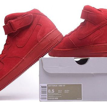 PEAPON Nike Air Force 1 Mid Gym Red For Women Men Running Sport Casual Shoes Sneakers