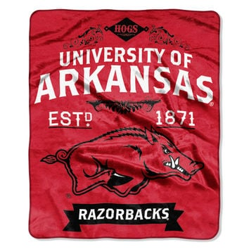 "Arkansas College """"Retro"""" 50x60 Raschel Throw"