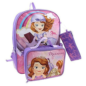 Disneys Sofia the First Backpack, Lunch Bag & Pencil Case Set