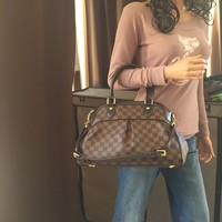 Authentic Louis Vuitton Damier Ebene Trevi PM Shoulder Handbag
